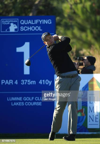 Jonathan Thomson of England in action during the final round of the European Tour Qualifying School Final Stage at Lumine Golf Club on November 16...