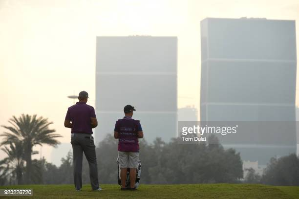 Jonathan Thomson of England looks on during the second round of the Commercial Bank Qatar Masters at Doha Golf Club on February 23 2018 in Doha Qatar