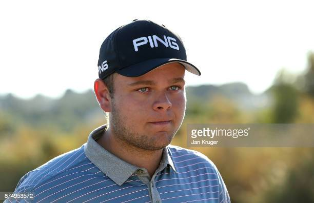 Jonathan Thomson of England looks on emotionally after earning his card during the final round of the European Tour Qualifying School Final Stage at...