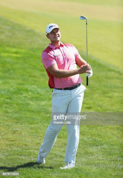Jonathan Thomson of England plays his second shot on the 1st hole during day four of the Portugal Masters at Dom Pedro Victoria Golf Club on...