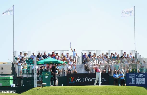 Jonathan Thomson of England tees off on the 1st hole during day four of the Portugal Masters at Dom Pedro Victoria Golf Club on September 24 2017 in...