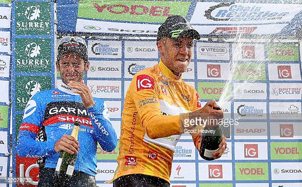Jonathan Tiernan-Locke of Great Britain celebrates his victory during the final stage of the Tour of Britain on September 16, 2012 in Guildford,...