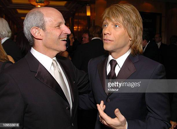 Jonathan Tisch and Jon Bon Jovi during Entertainment Industry Foundation's Colon Cancer Benefit on the QM2 VIP Cocktail Hour at Queen Mary 2 in New...