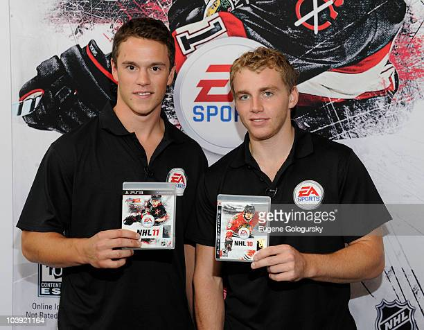 Jonathan Toews and Patrick Kane attend the NHL 11 video game launch at the NHL Powered by Reebok Store on September 8 2010 in New York City