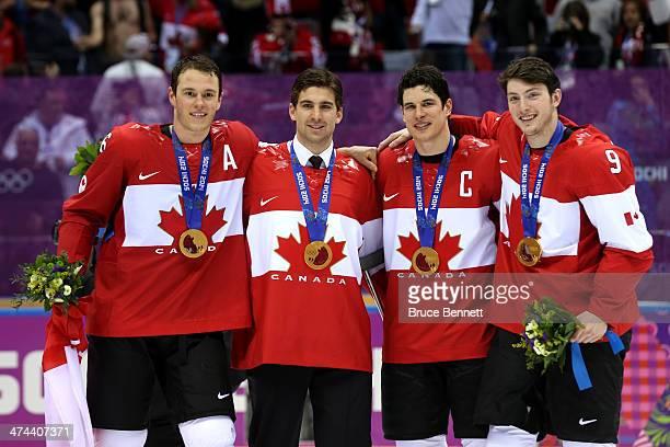 Jonathan Toews John Tavares Sidney Crosby and Matt Duchene of Canada during the Men's Ice Hockey Gold Medal match on Day 16 of the 2014 Sochi Winter...