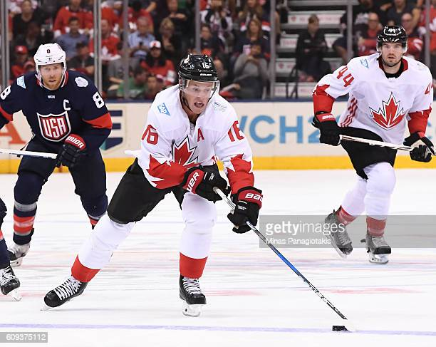 Jonathan Toews of Team Canada charges up ice against Team USA during the World Cup of Hockey 2016 at Air Canada Centre on September 20 2016 in...