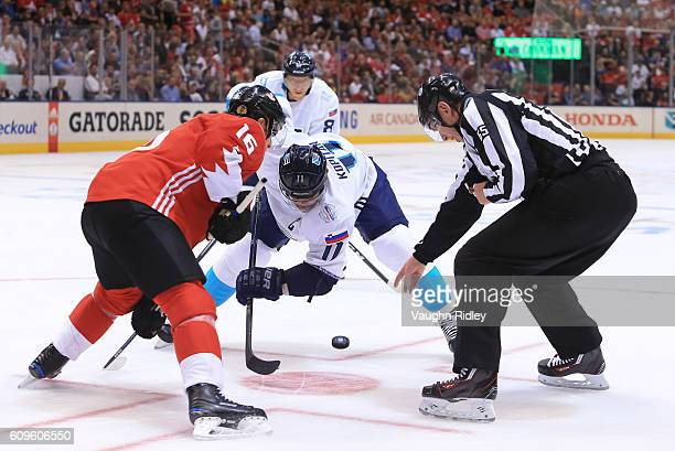 Jonathan Toews of Team Canada facesoff against Anze Kopitar of Team Europe during the World Cup of Hockey 2016 at Air Canada Centre on September 21...