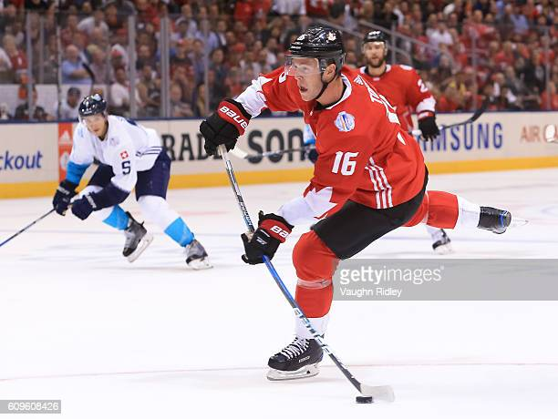 Jonathan Toews of Team Canada fires a slapshot to score a second period goal on Team Europe during the World Cup of Hockey 2016 at Air Canada Centre...