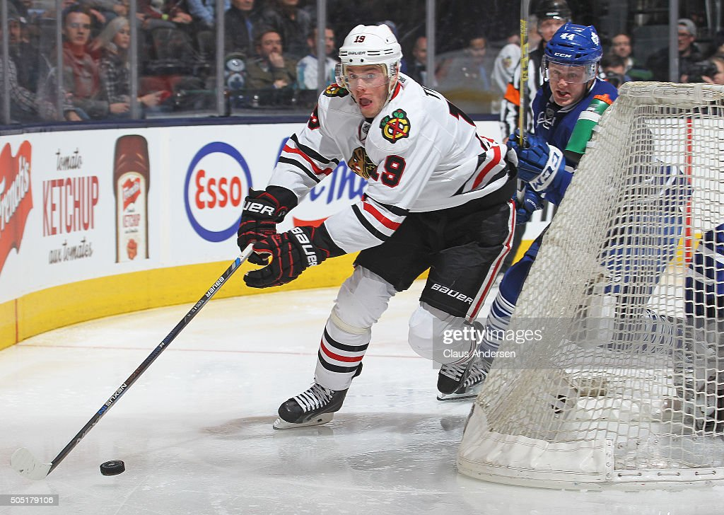 Jonathan Toews #19 of the Chicago Black Hawks skates with the puck against the Toronto Maple Leafs during an NHL game at the Air Canada Centre on January 15, 2016 in Toronto, Ontario, Canada. The Black Hawks defeated the Maple Leafs 4-1.