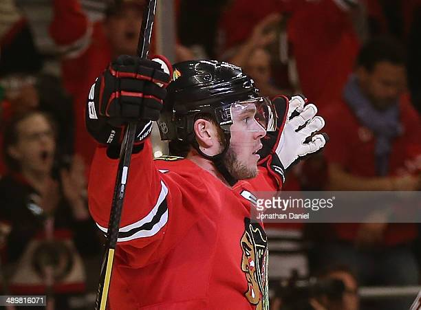 Jonathan Toews of the Chicago Blackhawks celebrates a goal against the Minnesota Wild in Game Five of the Second Round of the 2014 NHL Stanley Cup...