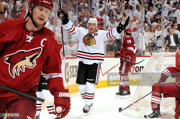 Jonathan Toews of the Chicago Blackhawks celebrates after his team scores the gametying goal against the Phoenix Coyotes in Game One of the Western...