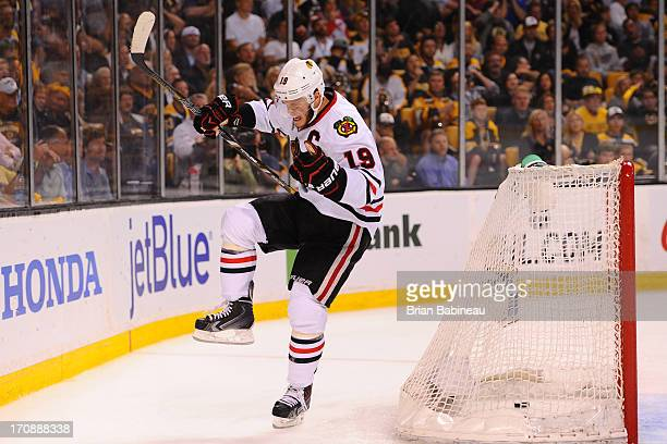 Jonathan Toews of the Chicago Blackhawks celebrates after scoring a goal against the Boston Bruins in Game Four of the Stanley Cup Final at TD Garden...
