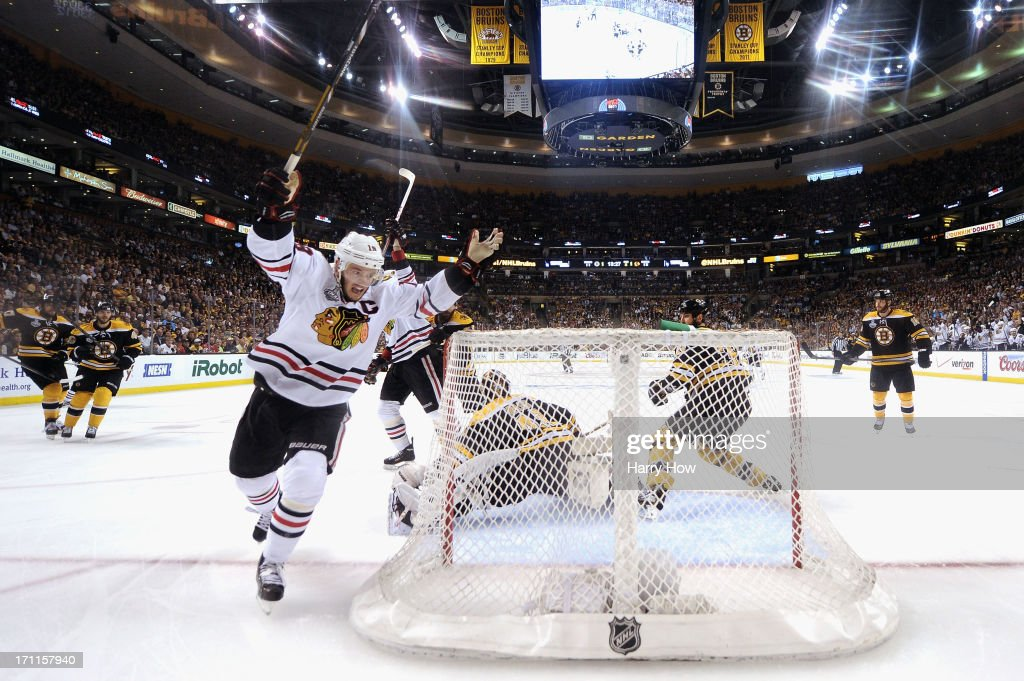 Jonathan Toews #19 of the Chicago Blackhawks celebrates after scoring a goal against Tuukka Rask #40 of the Boston Bruins during the second period in Game Four of the 2013 NHL Stanley Cup Final at TD Garden on June 19, 2013 in Boston, Massachusetts.