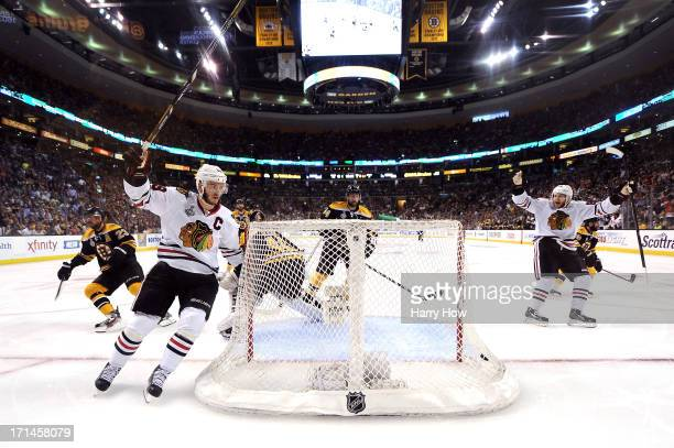 Jonathan Toews of the Chicago Blackhawks celebrates after scoring a goal in the second period against Tuukka Rask of the Boston Bruins in Game Six of...