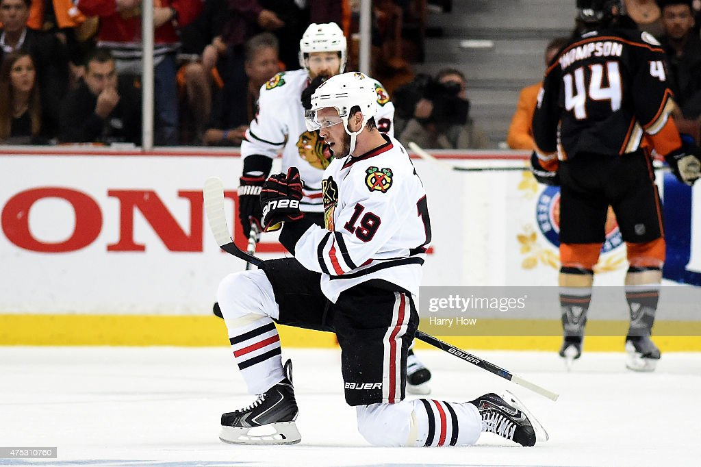 Jonathan Toews #19 of the Chicago Blackhawks celebrates his second goal in the first period against the Anaheim Ducks in Game Seven of the Western Conference Finals during the 2015 NHL Stanley Cup Playoffs at the Honda Center on May 30, 2015 in Anaheim, California.