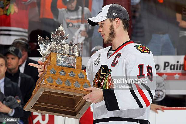 Jonathan Toews of the Chicago Blackhawks is awarded the Conn Smythe Trophy after the Blackhawks defeated the Philadelphia Flyers 43 to win the...