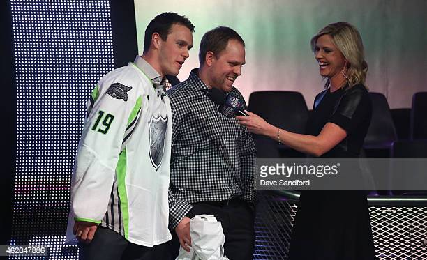 Jonathan Toews of the Chicago Blackhawks of Team Toews, Phil Kessel of the Toronto Maple Leafs of Team Toews and NHL Network sportscaster Kathryn...