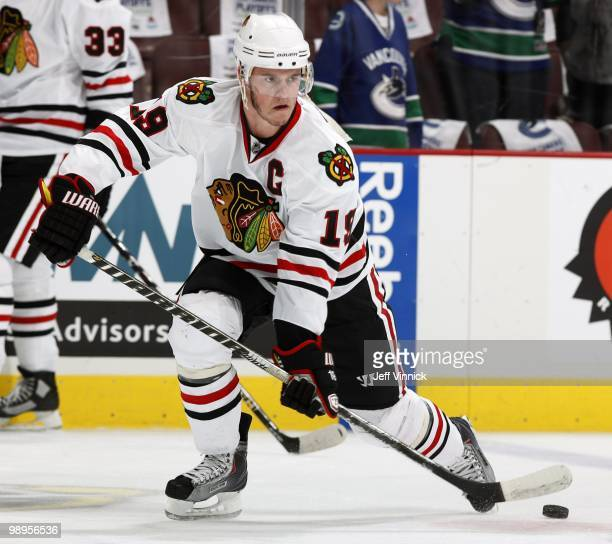 Jonathan Toews of the Chicago Blackhawks passes the puck up ice in Game Four of the Western Conference Semifinals against the Vancouver Canucks...