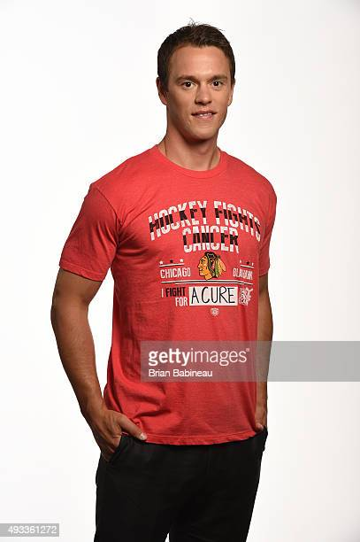 Jonathan Toews of the Chicago Blackhawks poses for a portrait at the NHL Player Media Tour at the Ritz Carlton on September 8 2015 in Toronto Ontario