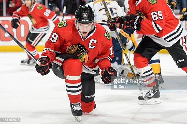 Jonathan Toews of the Chicago Blackhawks reacts after scoring against the Nashville Predators in the first period in Game Six of the Western...