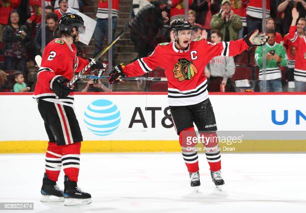 Jonathan Toews of the Chicago Blackhawks reacts after scoring the gamewinning goal in overtime against the Colorado Avalanche at the United Center on...