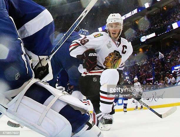 Jonathan Toews of the Chicago Blackhawks skates against the Tampa Bay Lightning during Game One of the 2015 NHL Stanley Cup Final at Amalie Arena on...