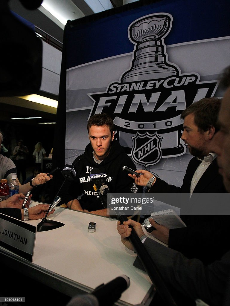 Jonathan Toews of the Chicago Blackhawks talks to reporters during Stanley Cup media day at the United Center on May 27, 2010 in Chicago, Illinois.