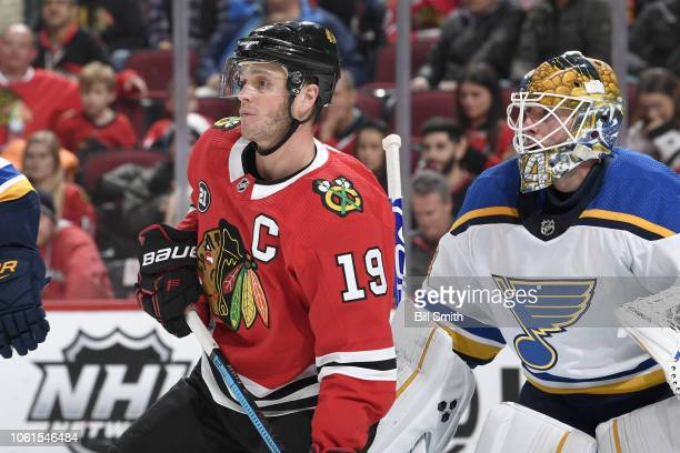 Jonathan Toews of the Chicago Blackhawks waits in front of goalie Jake Allen of the St Louis Blues in the third period at the United Center on...