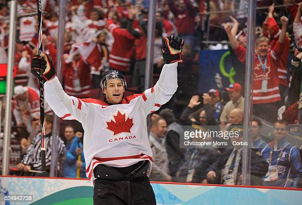 Jonathan Toews scores the first goal during the Canada vs. USA, Gold medal game at Canada Hockey Place, day 13 of the 2010 Vancouver Winter Olympics....