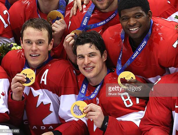 Jonathan Toews Sidney Crosby and PK Subban of Canada pose with the gold medals won during the Men's Ice Hockey Gold Medal match against Sweden on Day...