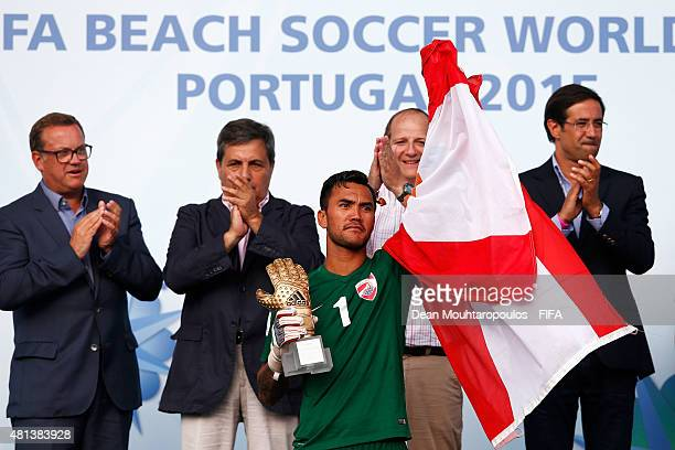 Jonathan Torohia of Tahiti celebrates winning the adidas Golden Gloves award after the FIFA Beach Soccer World Cup Final match between Tahiti and...