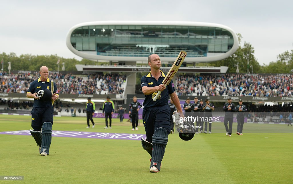 Jonathan Trott and Tim Ambrose of Warwickshire leaves the field after winning the Royal London one-day cup final cricket match between Warwickshire and Surrey at Lord's cricket ground on Sepember 17, 2016 in London, England.