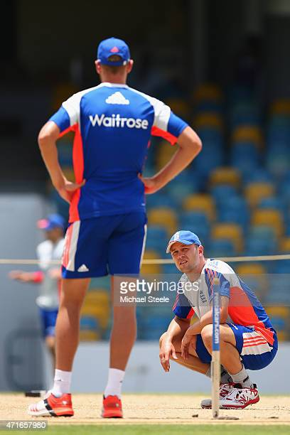 Jonathan Trott looks towards Stuart Broad whilst inspecting the wicket during the England nets session at Kensington Oval ahead of the 3rd Test match...