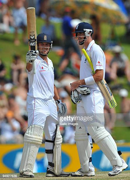 Jonathan Trott of England celebrates his 50 with Kevin Pietersen during day 5 of the 1st Test match between South Africa and England from Supersport...