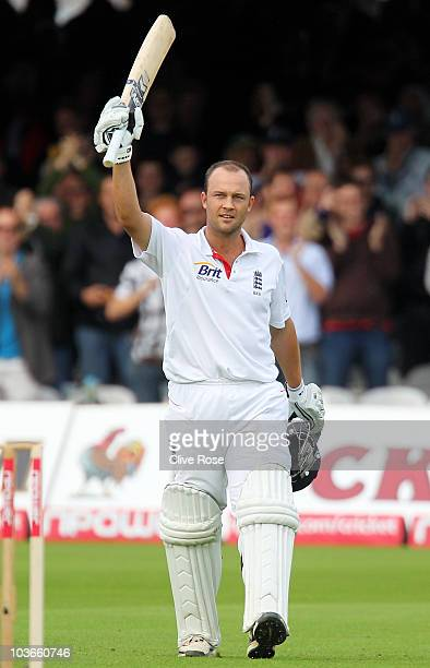 Jonathan Trott of England celebrates his century during day two of the 4th npower Test Match between England and Pakistan at Lord's on August 27 2010...