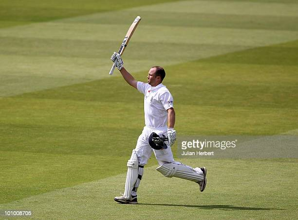 Jonathan Trott of England celebrates reaching his 100 during the 1st npower Test between England and Bangladesh played at Lords on May 27 2010 in...