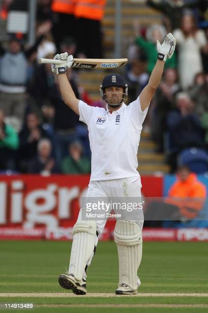 Jonathan Trott of England celebrates reaching his century during day three of the 1st npower test match between England and Sri Lanka at the Swalec...