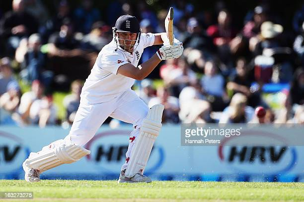 Jonathan Trott of England drives the ball away for four runs during day two of the First Test match between New Zealand and England at University...