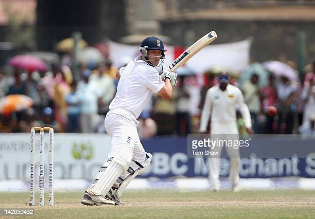 Jonathan Trott of England hits out during day 4 of the 1st test match between Sri Lanka and England at Galle International Cricket Ground on March 29...
