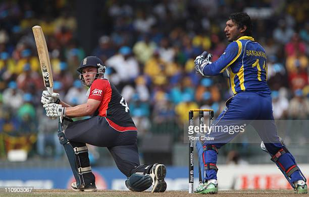 Jonathan Trott of England hits out during the 2011 ICC World Cup QuarterFinal match between Sri Lanka and England at the R Premadasa Stadium on March...
