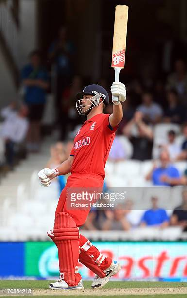 Jonathan Trott of England hits the winning runs during the ICC Champions Trophy Semi Final match between England and South Africa at The Oval on June...