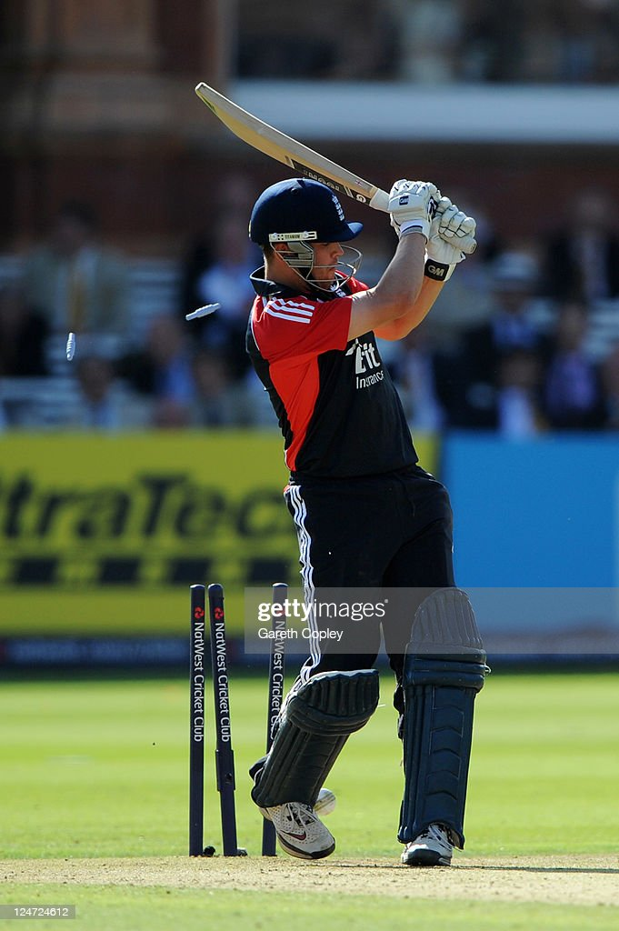 Jonathan Trott of England is bowled by Praveen Kumar of India during the 4th Natwest One Day International match between England and India at Lord's Cricket Ground on September 11, 2011 in London, United Kingdom.