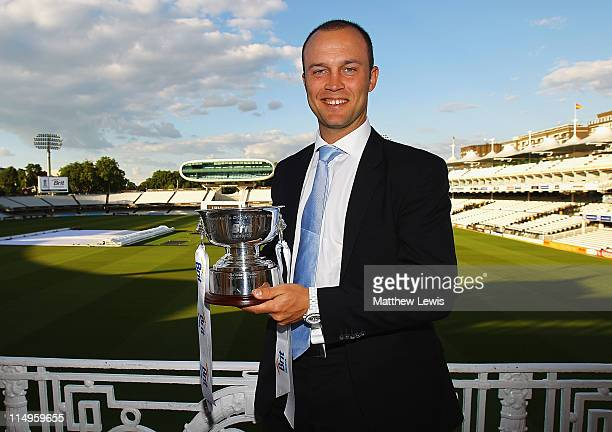 Jonathan Trott of England poses after winning 'Mens Cricketer of the Year Award' during the ECB Cricketer of the Year Dinner at Lord's Cricket Ground...