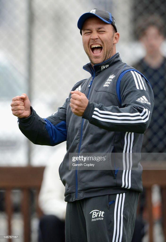 Jonathan Trott of England reacts during a nets session at Edgbaston on June 5, 2012 in Birmingham, England.