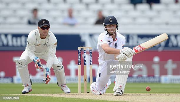 Jonathan Trott of England reverse sweeps the ball during day four of 2nd Investec Test match between England and New Zealand at Headingley on May 27...