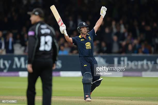 Jonathan Trott of Warwickshire after hitting the winning runs in the Royal London oneday cup final cricket match between Warwickshire and Surrey at...