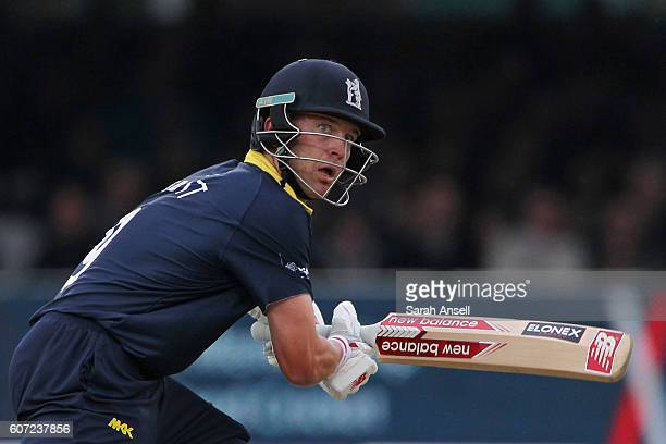 Jonathan Trott of Warwickshire bats during the Royal London OneDay Cup Final match between Surrey and Warwickshire at Lord's Cricket Ground on...
