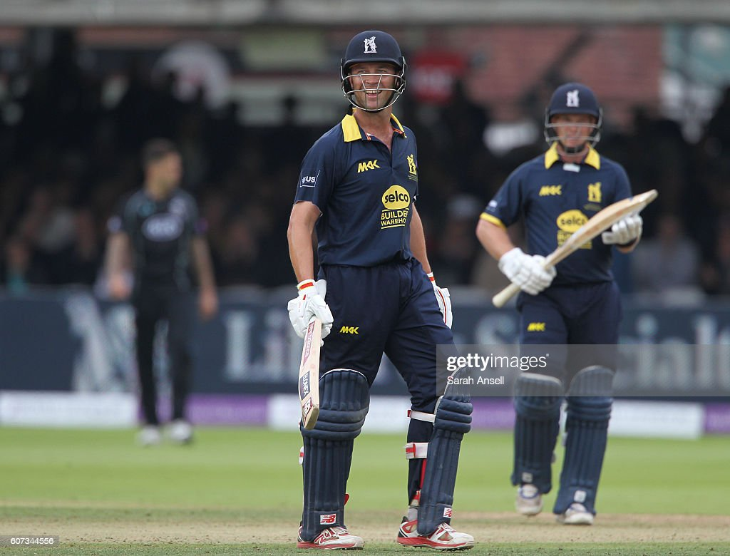 Jonathan Trott of Warwickshire looks delighted after hitting the winning runs during the Royal London One-Day Cup Final match between Surrey and Warwickshire at Lord's Cricket Ground on September 17, 2016 in London, England. (Photo by Sarah Ansell/Getty Images).