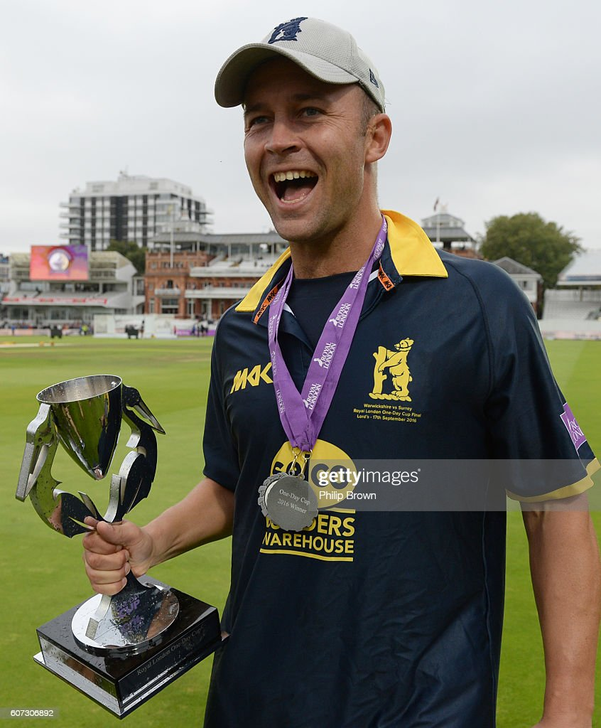 Jonathan Trott with the trophy after Warwickshire won the Royal London one-day cup final cricket match between Warwickshire and Surrey at Lord's cricket ground on Sepember 17, 2016 in London, England.