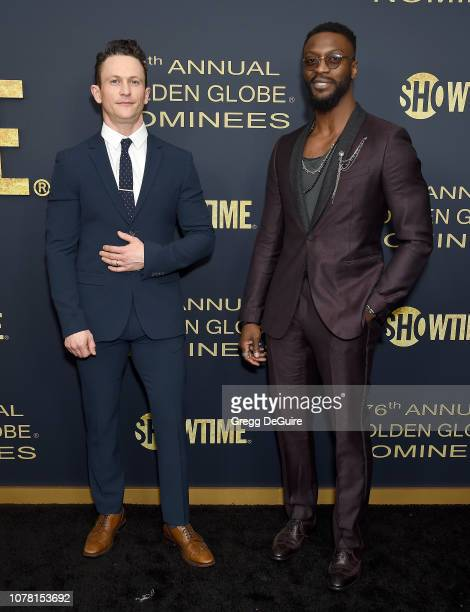 Jonathan Tucker and Aldis Hodge attend the Showtime Golden Globe Nominees Celebration at Sunset Tower Hotel on January 5 2019 in West Hollywood...